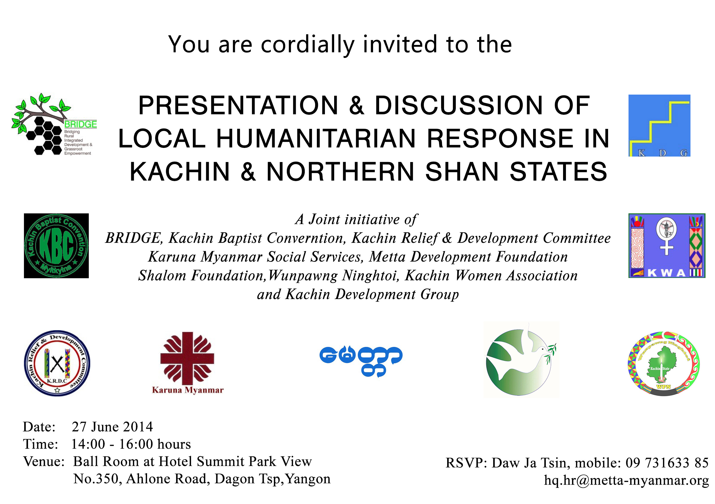 Presentation and discussion of local humanitarian response in kachin invitationcardg stopboris Choice Image